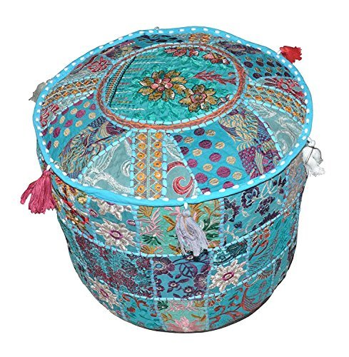 Aakriti Gallery Indian Pouf Footstool Ethnic Embroidered Pouf Cover, Indian Cotton Round Pouffe Ottoman Pouf Cover Pillow Ethnic Decor Art - Cover Only (22x14inch) (Turquoise) by Aakriti Gallery