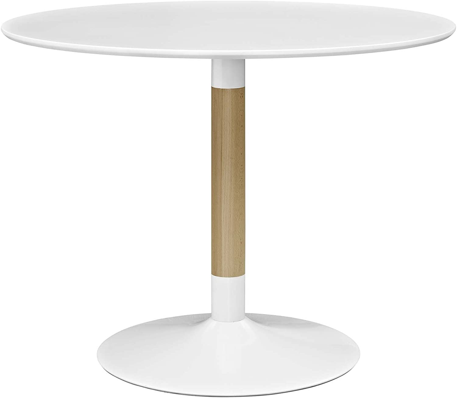 "Modway Whirl 40"" Contemporary Modern Round Kitchen and Dining Table in White"