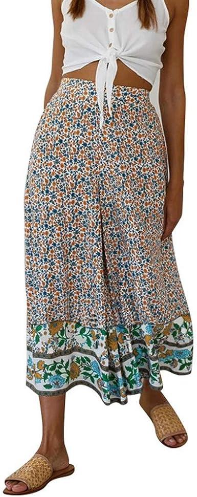 Pantalones Anchos Estampados Para Mujer Casual Suelto Pantalon Largo De Piernas Ancha De Playa Con Estampada Verano Moda Pantalones Elasticos Pants Rectos Amazon Es Ropa Y Accesorios