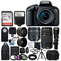 Canon EOS Rebel T7i DSLR Camera + Canon EF-S 18-55mm IS STM Lens + Canon EF 75-300mm III Lens + Wide Angle & Telephoto Lens + Telephoto 500mm f/8.0 (Long) + 64GB Card + Slave Flash + Valued Bundle