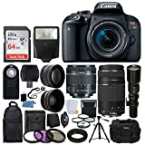 Canon EOS Rebel T7i DSLR Camera + Canon EF-S 18-55mm IS STM Lens + Canon EF 75-300mm III Lens + Wide Angle & Telephoto Lens + Telephoto 500mm f/8.0 (Long) + 64GB Card + Slave Flash + Valued Bundle For Sale