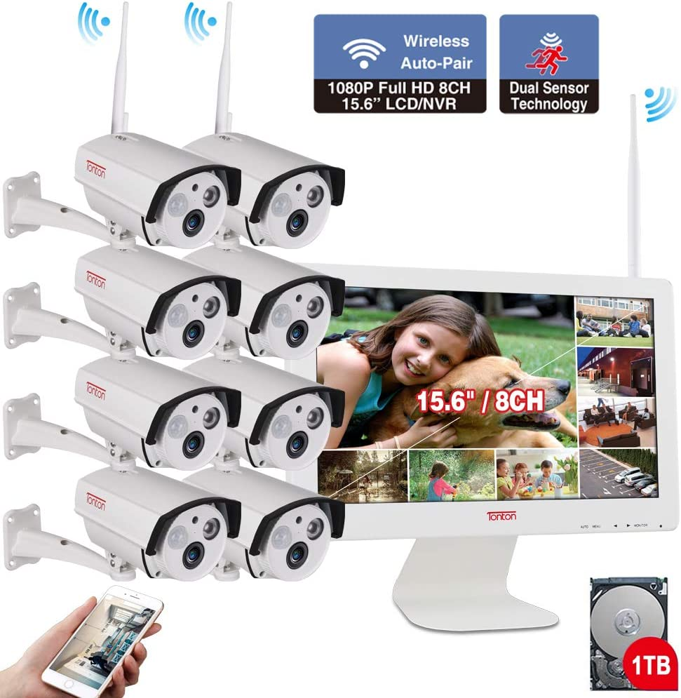【2 Weg Audio】 alle bei ein mit 15.6Inch Monitor 1080P Security Camera System Wireless,Tonton 8Ch Outdoor Zuhause Camera System(1Tb Hard Drive),8Pcs 2.0Mp Bullet Ip Cameras,Free App,Pir Sensor