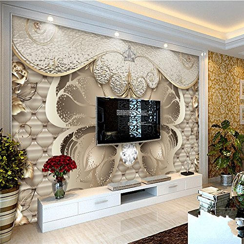 ShAH Custom 3D Wallpaper Mural Floor Sticker European Luxury Soft Bag Gold Peony 3D Wallpaper Mural Floor Sticker Living Room Sofa Bedroom Tv Wall 400cmX300cm