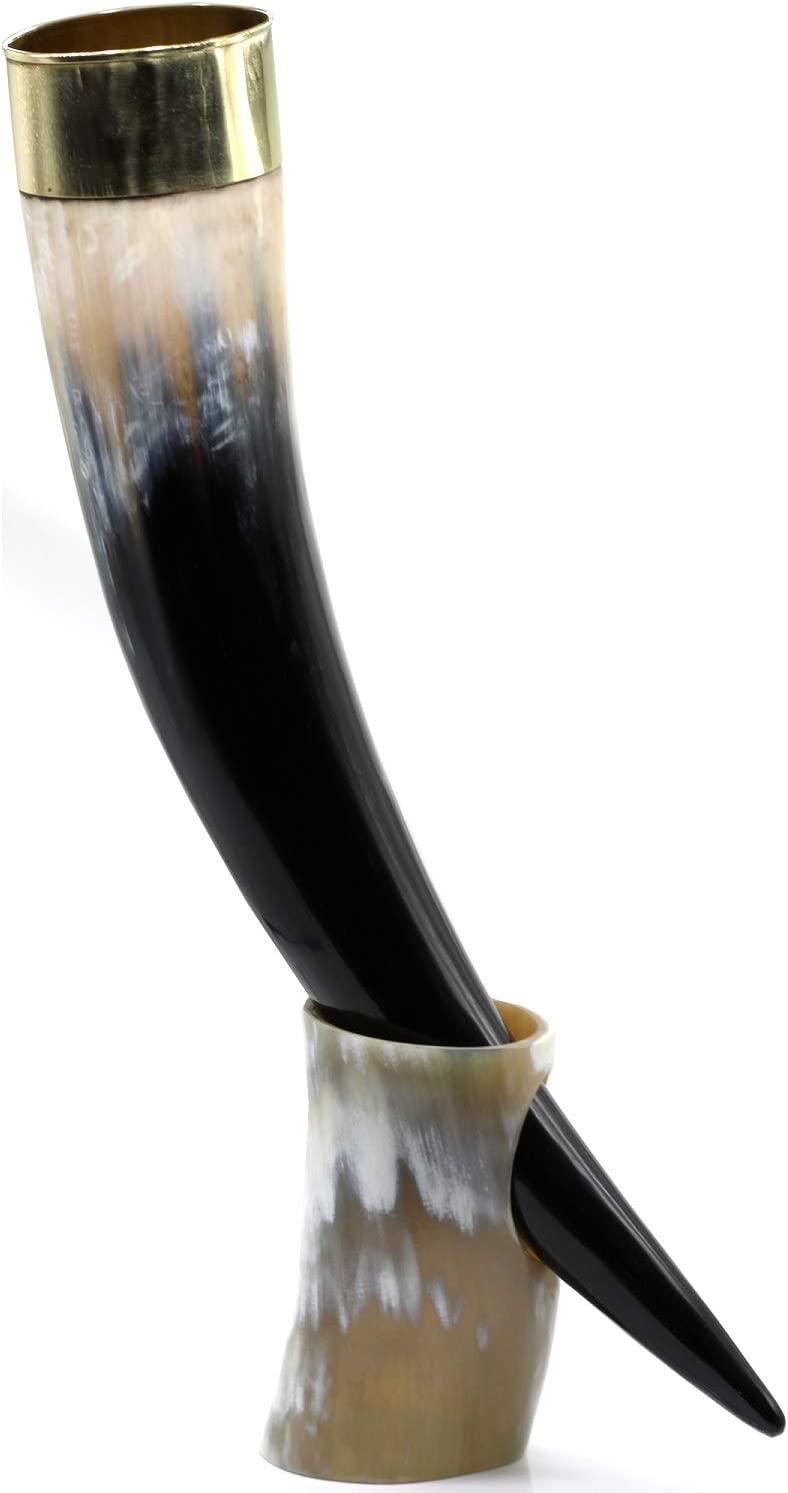 Replicartz Large Viking Drinking Horn with Stand - Authentic & Food Safe Cup - No Leaks - Norse Drinking Beer Mug with 20 oz Capacity Best Choice of Vikings & Game of Thrones Theme & Fans (18 Inch)