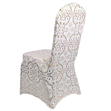 Marvelous Fascola Bronzing Chair Cover Elastic Spandex Coverings Gold Printing Flower Chairs Cloth For Party Wedding Banquet Universal Creativecarmelina Interior Chair Design Creativecarmelinacom