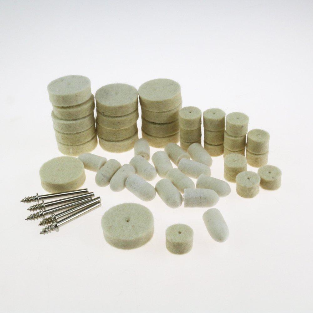 50 Piezas de fieltro almohadilla de pulido Buff Clean Wheels & Point Mandrel Buff para Rotary Dremel Paor