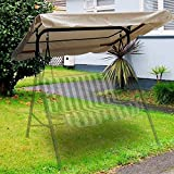 Flexzion Swing Canopy Cover (Beige) 77' x 43' - Deluxe Polyester Top Replacement UV Block Sun Shade Waterproof Decor for Outdoor Garden Patio Yard Park Porch Seat Furniture
