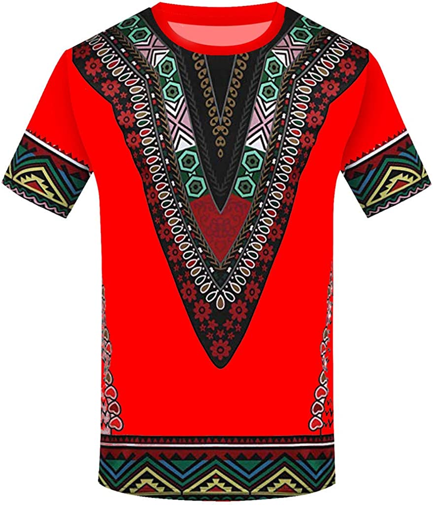 Men Tops Fashion Short Sleeve Summer African Floral Print Casual Novelty Funny Graphic T Shirt Tees