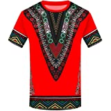 Mens African Shirts Printed T Shirt Tees Short Sleeve Ethnic Summer Tops Workout Tribal T Shirts
