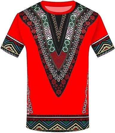 YWLINK Hombre Estilo Nacional Moda Impresa Africana Camiseta Manga Corta Camisa Informal Top Blusa Deportes Al Aire Libre Fiesta Actividad Rendimiento: Amazon.es: Ropa y accesorios