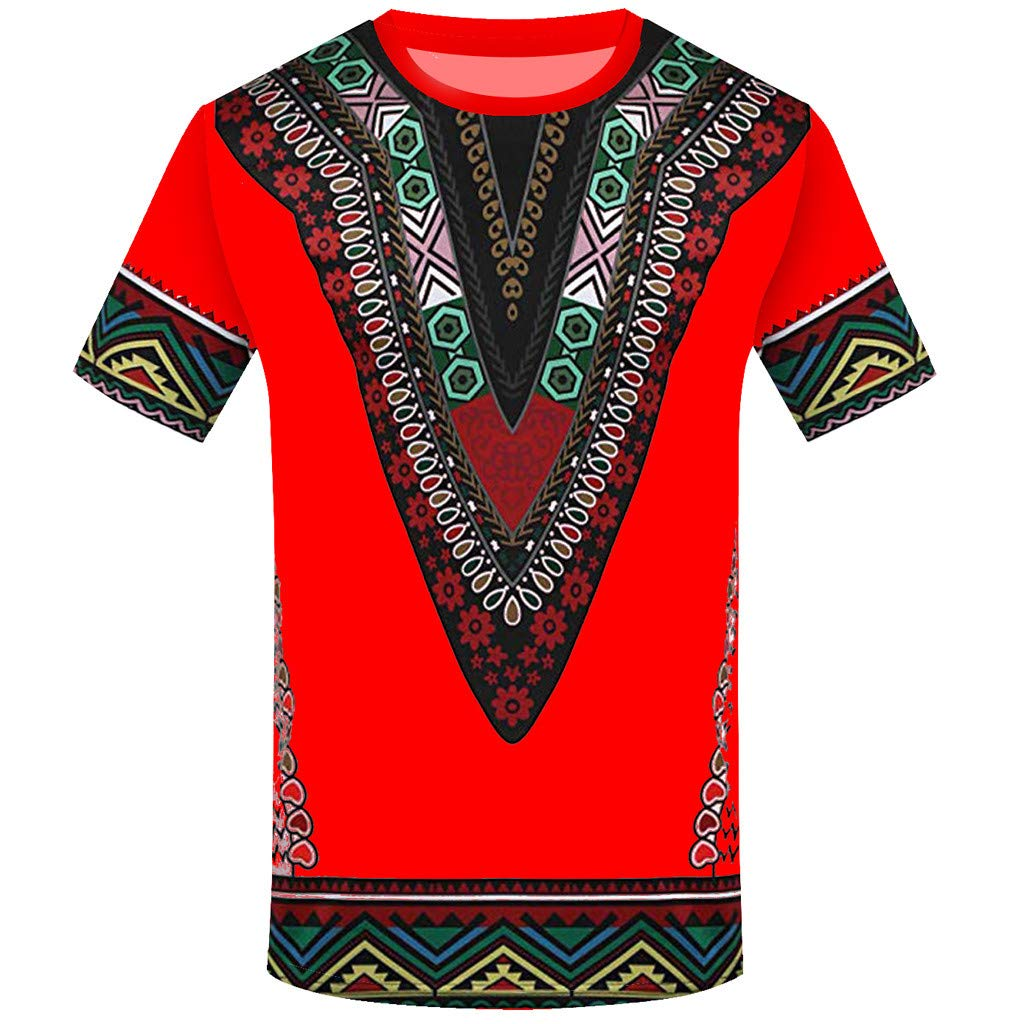 YOMXL Fashion Men African Printed T Shirt Ethnic V Shape Slim Fit Casual Shirt Short Sleeve O-Neck Top Blouse Red