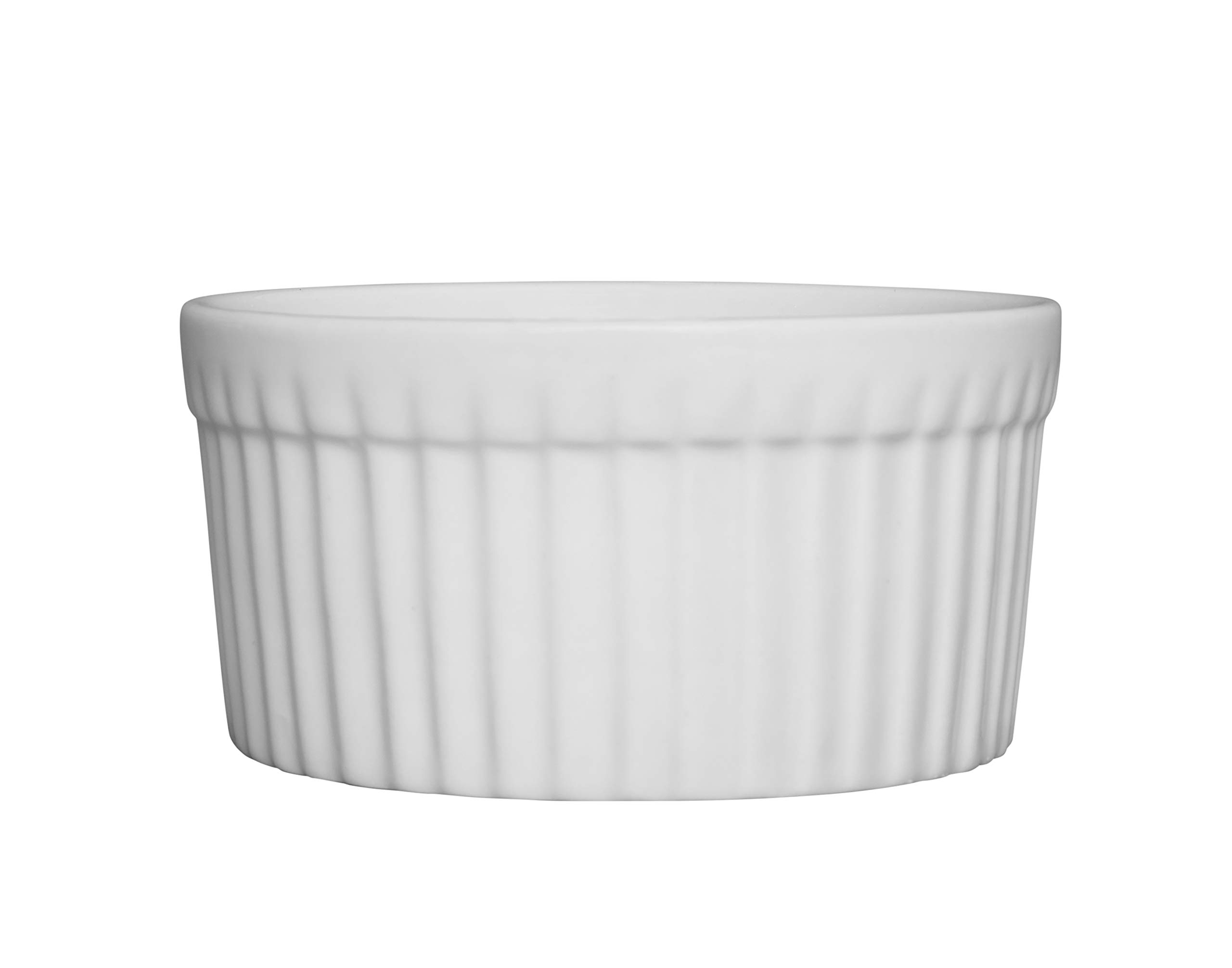 Chef Expressions 3.27'' x 1.57'' Fluted Ramekin - Souffle Dish, 5-ounce Capacity, Restaurant Quality, Vitrified Bright White Porcelain (Case of 12)