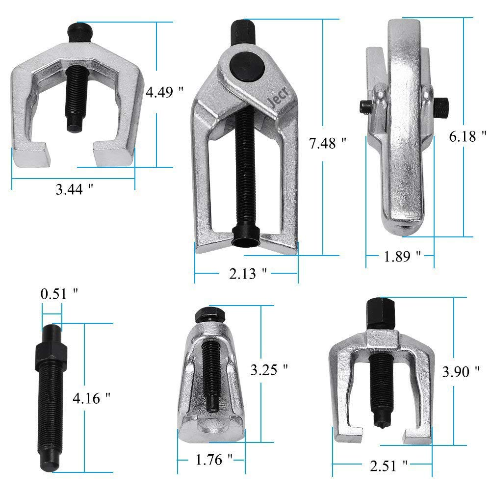 Ball Joint Separator Kit - Pitman Arm Puller Tool - Tie Rod End Remover - Front End Service Set – Outer Tie Rod Removal - 6 Piece by Jecr (Image #3)