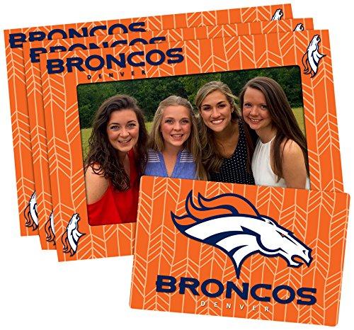 NFL Denver Broncos Magnetic Frame & Bonus Magnet, 3 Pack, Blue, 4-inch by 6-inch