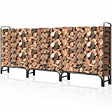 8 fireplace pipe - Outdoor Firewood Log Rack for Fireplace 12ft Heavy Duty Firewood Pile Storage Racks for Patio Deck Metal Log Holder Stand Tubular Steel Wood Stacker Outside Fire place Tools Accessories Black