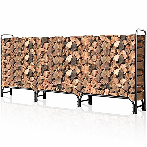 Outdoor Firewood Log Rack for Fireplace 12ft Heavy Duty Firewood Pile Storage Racks for Patio Deck Metal Log Holder Stand Tubular Steel Wood Stacker Outside Fire place Tools Accessories Black - Wood 12' Part
