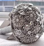 Pavian charm shiny luxury covered diamond wedding bouquet brooches flower pearl custom bride holding bouquets grey
