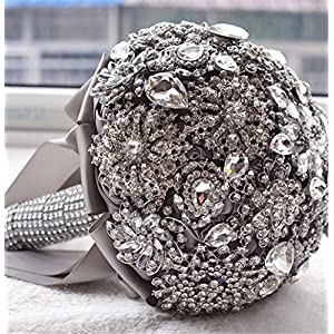 Pavian charm shiny luxury covered diamond wedding bouquet brooches flower pearl custom bride holding bouquets 96