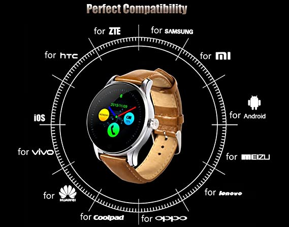 Reloj inteligente de Efanr, modelo K88H; con Bluetooth, con banda de acero inoxidable, reloj de pulsera, podómetro, monitor de frecuencia cardíaca, ...
