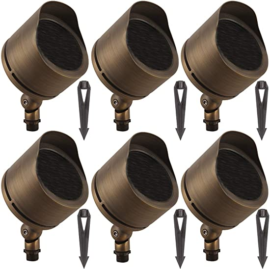 LFU Pack of 6 Cast Brass Constructed Flood Spot Lights. Requires PAR36 Bulbs. Low Voltage. Model LF2009AB Marshall.