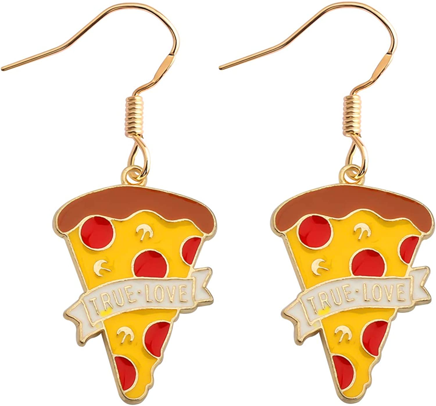 SEIRAA Pizza Earrings Pizza Lover Gift Mini Food Jewelry Friendship Gift Miniature Pizza Slice Post Earrings Pizza Jewelry