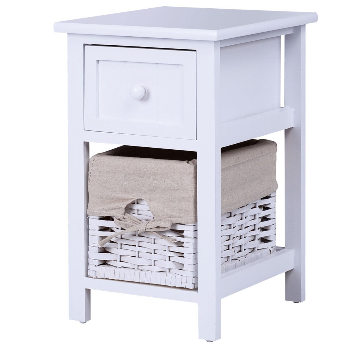 2 Tier Nightstand 1 Drawer Bedside End Table Organizer Wood W/Basket White with Ebook
