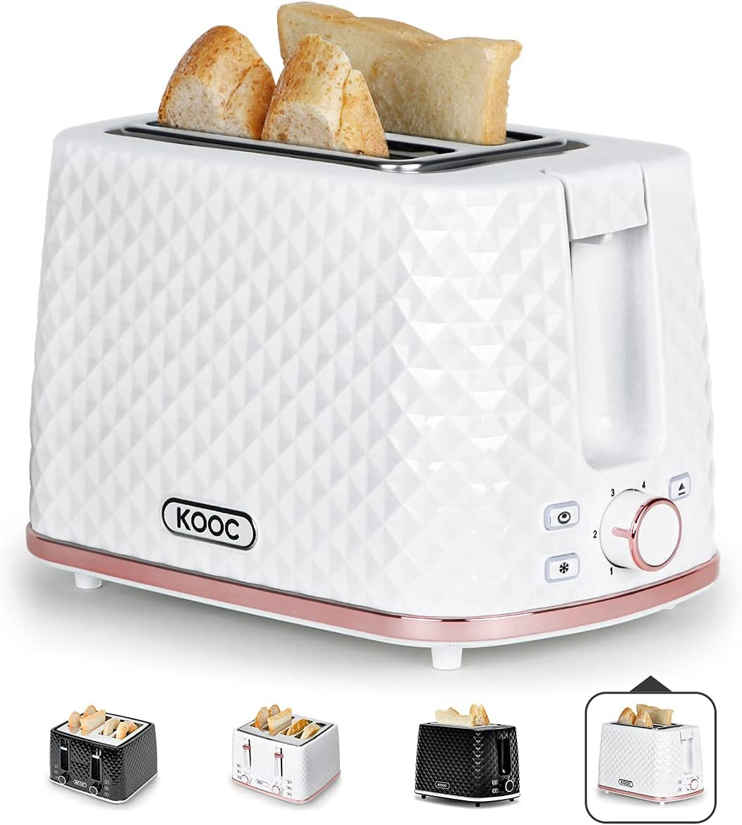 [NEW LAUNCH] KOOC Toaster 2 Slice, 1.5-inch Extra-Wide Slot for Evenly Toast, 6 Shade Settings, Bagel/Defrost/Cancel in 1, Stainless Steel Inner, Removable Crumb Tray, Bonus Exclusive Recipes, White