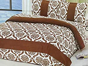 Arex 3d Comforts/blanket/duvet Set Of 6 Piece King Size(220x240) Brown Color With Big Flowers