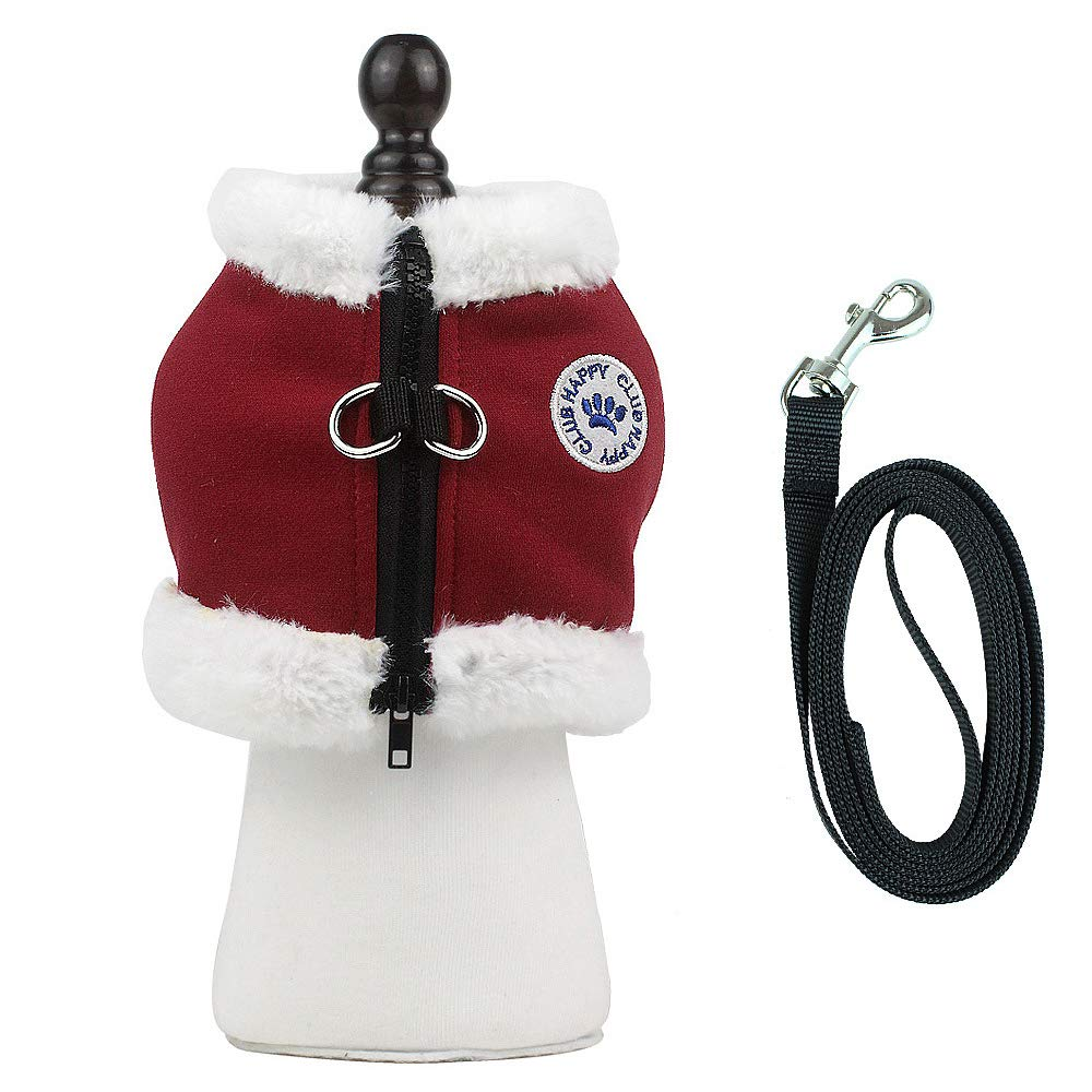 Red M (Chest  17.3\ Red M (Chest  17.3\ Momo Pet Dog Soft Harness with Leash Reflective Adjustable Winter Warm Puppy No Pull Christmas Dog Harness Pet Padded No Pull Walking Vest for Holiday Christmas Red M