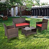 Premium Patio USA Patio Furniture Sets Clearance Conversation 4 Piece Waterproof Outdoors Wicker (Red)