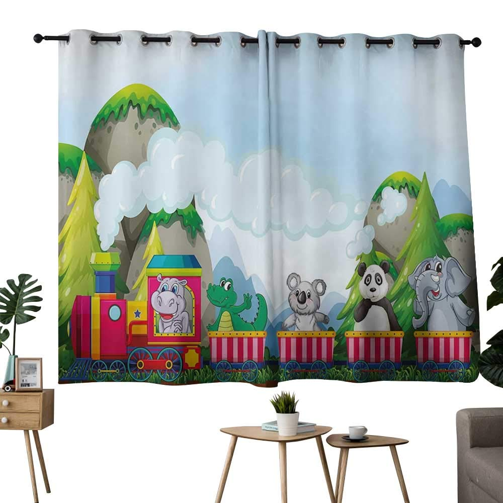 color05 42\ NUOMANAN Bedroom Curtain Kids,Various Animals Riding on Train in The Park with Mountains Cartoon Style Illustration,Multicolor,Insulating Room Darkening Blackout Drapes for Bedroom 42 x45