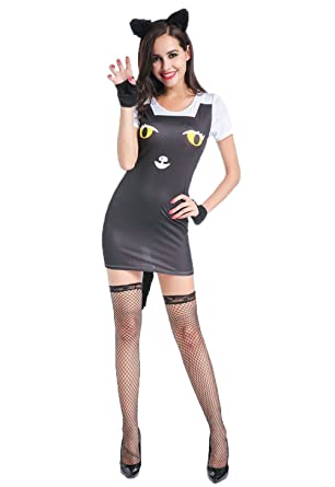 Amazon Sexy Cat Costume Hot Halloween Gothic Black Cheshire