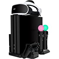 PSVR Charging Stand Display, Upgraded EKOOS PlayStation PS VR Storage Headset Holder, ps4 cooling stand 2 PS Move + 1 PS4 Controller Charger Docking Station, PS4 Pro / Slim / PS4 [All in 1] Vertical Stand Cooling Fan (ps4 accessories)