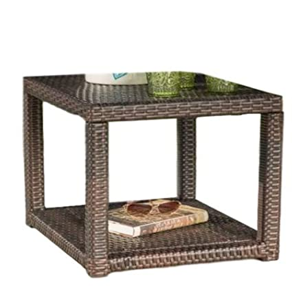 ATS Wicker Side Table Square Outside Side Table Garden Patio Small Outdoor  Plastic Metal Classic End