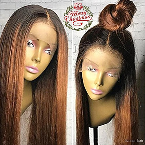 Human Hair Straight full lace wig 100% Real Brazilian Hair Ombre Black Roots 1B 30 Color 130% Density Wig For Black Women (18'', lace frontal wig) by Dream Beauty
