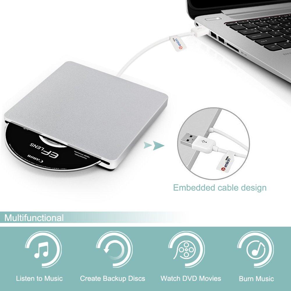 External CD DVD Drive, VersionTECH. USB Ultra-Slim Portable CD DVD RW/DVD CD ROM Burner/Writer/ Superdrive with High Speed Data Transfer for Mac MacBook Pro/Air iMac Laptop by VersionTECH. (Image #3)