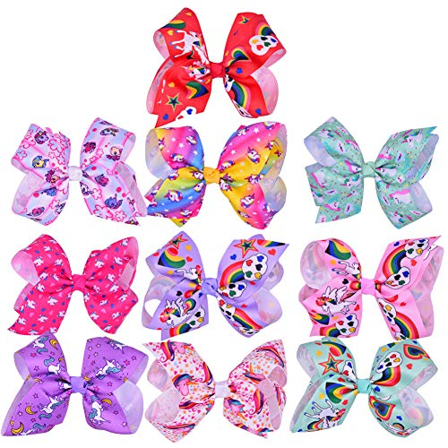 JYUAN 10 Pcs Colorful Unicorn Bow Hairpin Girls Bows with Clip for Girls Baby Girls Teens Toddlers