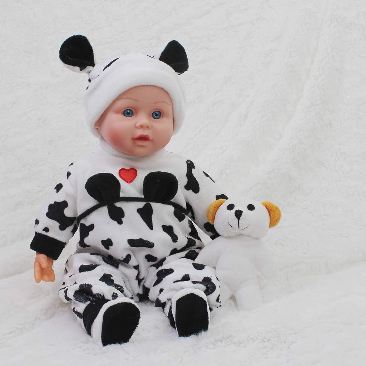 """Sweet One Set 15/"""" Cute Vinyl Doll and Another Rompers for New Born Baby Dolls in Beautiful Gift Box,100/% Removable Washable Cow and Tiger Stripe Design Rompers Vinyl Play Toy with a Bear for Kids"""