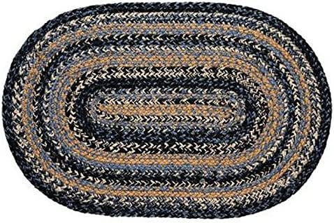 IHF Home Decor River Shale Jute Braided Rug Oval Farmhouse, Living Room, Indoor, Outdoor Accent Area Floor Carpet Blue, Black, Tan Colors Natural Fiber – 8 x 10