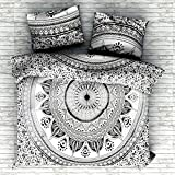 """Sophia Art Exclusive Queen Size Ombre Mandala DUVET COVER WITH PILLOWCASES By """"Sophia Art """" Indian Duvet Doona Cover Queen Size Cover Boho Bedding Set Blanket (Grey)"""