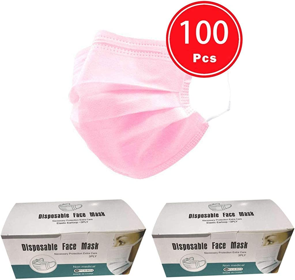 3 Ply Non-Woven Meltblown Fabric Thicken Covers with Elastic Ear Loop Cover Full Face DETALLAN 20//30//40//50//100 Pcs Adults Disposable Face Bandanas