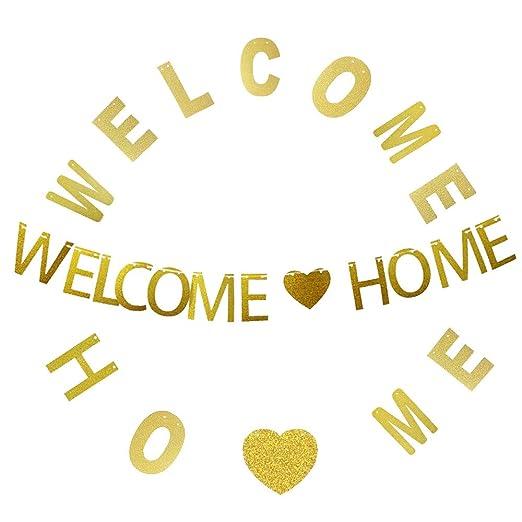 Bienvenido a casa Banners - 3Meters Gold Glitter Bienvenido ...