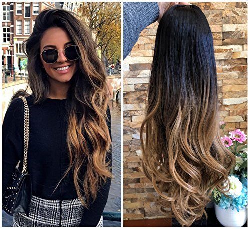 24 Inches Curly Wavy 3 4 Weave Loose Curls Half Head Wig Long Ombre Natural Black To Honey Blonde