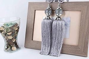 Emoly 2 Pack Jade Curtains Tiebacks, Home Office Rope Tassel Curtains Buckle Holdbacks for Window Curtains Decor (Silver Grey)