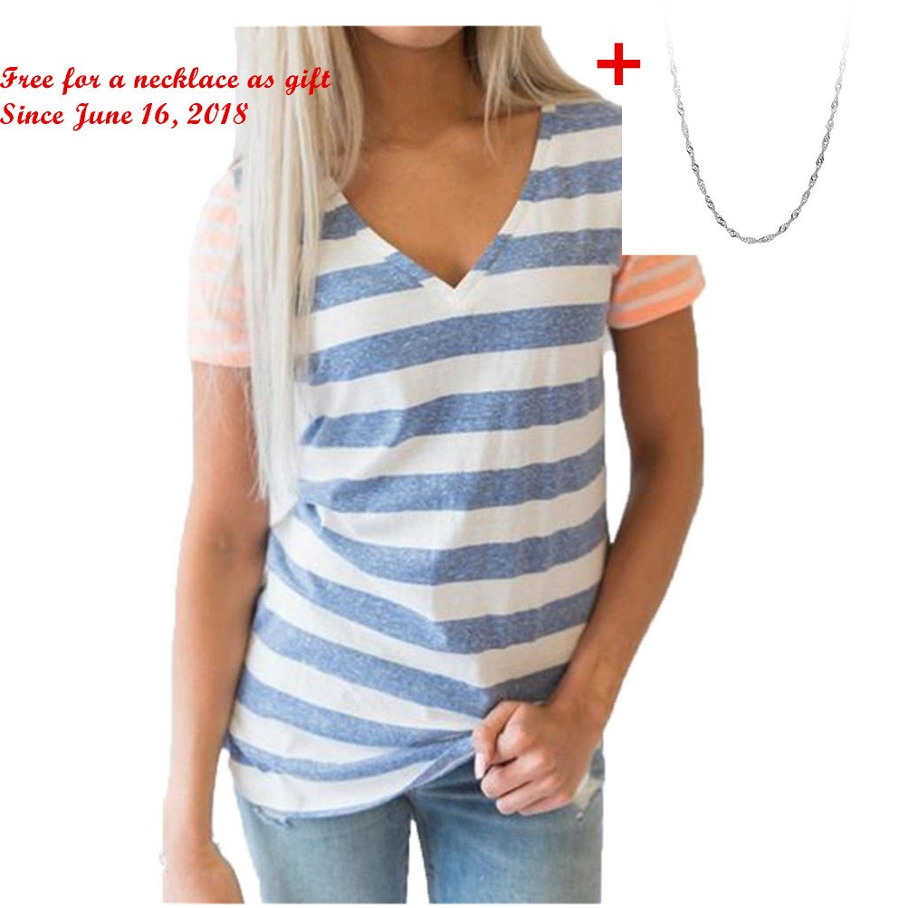 d217c0bded Top1: Challyhope Womens Summer Casual T-Shirt Striped Splice Short Sleeved  V-Neck Blouse