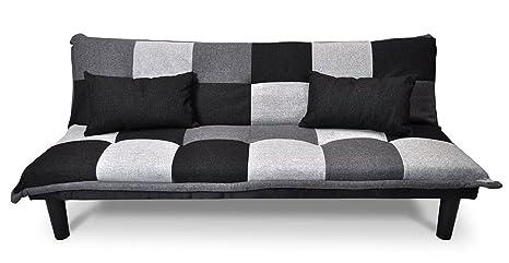 Samira Divano letto clic clac in tessuto grigio scuro - nero ...