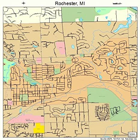 Amazon Com Large Street Road Map Of Rochester Michigan Mi