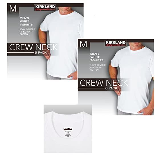 859ed935b Kirkland Signature 12 Pack Men's Crew Neck T-Shirts 100% Cotton Tagless