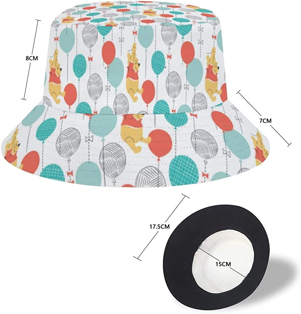 Sun Hat for Men//Women,Outdoor Packable Travel Bucket Cap Hats for Safari Fishing Hiking Beach Golf-Winnie The Pooh Hanging on Balloons Pattern Hatmore