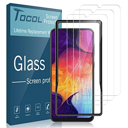 TOCOL [3 Pack] for Samsung Galaxy A50 / Galaxy A30 Screen  Protector,[Alignment Frame Easy Installation] [Case Friendly][3D  Curved][Full Coverage]